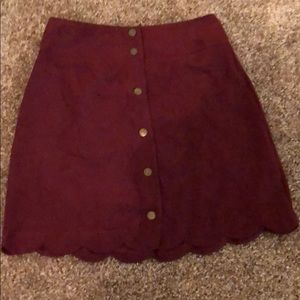 Burgundy Suede Skirt
